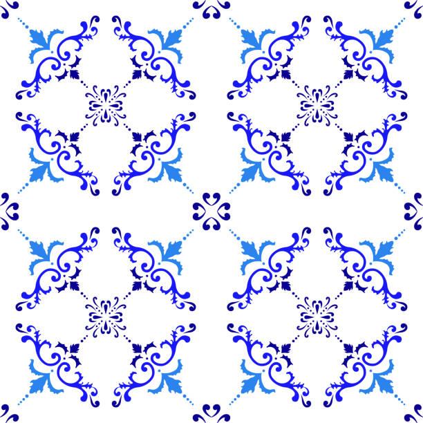 stockillustraties, clipart, cartoons en iconen met vector tegelpatroon, lissabon arabisch bloemenmozaïek, mediterrane naadloze navy blauw ornament - turkse cultuur