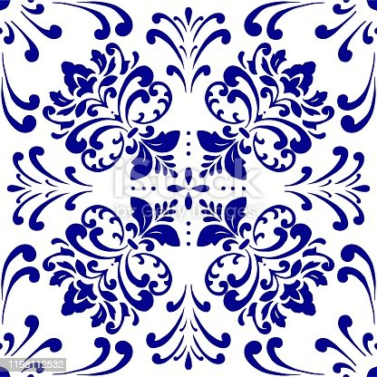 Vector tile pattern, Lisbon Arabic Floral Mosaic, Mediterranean Navy Blue Ornament.