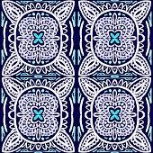 Vector tile pattern, Lisbon Arabic Floral Mosaic, Mediterranean Seamless Navy Blue Ornament.