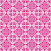 Vector tile pattern, Lisbon Arabic Floral Mosaic, Mediterranean Seamless Pink Ornament