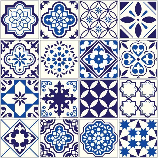 wzór płytek wektorowych, mozaika kwiatowa lizbona, śródziemnomorska granatowa ozdoba - kultura portugalska stock illustrations