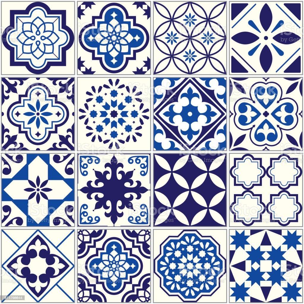 Vector tile pattern, Lisbon floral mosaic, Mediterranean seamless navy blue ornament vector art illustration
