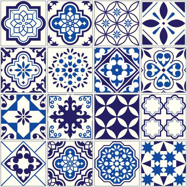 vector tile pattern, lisbon floral mosaic, mediterranean seamless navy blue ornament - lizbona stock illustrations