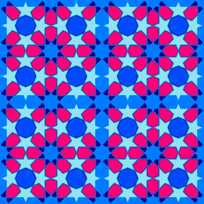 Vector Tile Seamless Pattern, Lisbon Arabic Geometrical Mosaic, Mediterranean Seamless Blue Ornament.