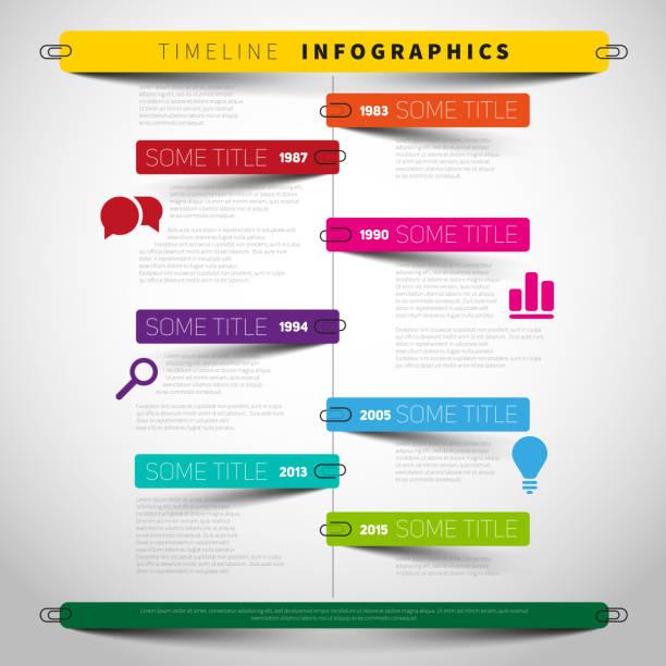 Cronograma de Vector de infografía Plantilla de informe - ilustración de arte vectorial