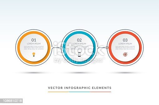 Vector timeline infographic template of 3 circles. Can be used for web design, diagram, step options, chart, graph, business presentation.