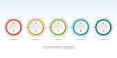 Vector timeline infographic template of 5 circles. Can be used for web design, diagram, step options, chart, graph, business presentation.