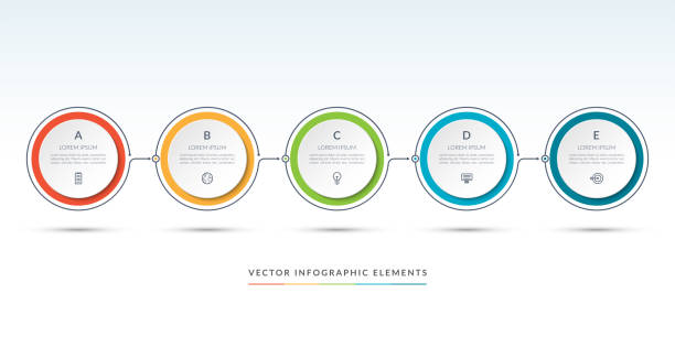 Vector timeline infographic template of 5 circles. Can be used for web design, diagram, step options, chart, graph, business presentation. – artystyczna grafika wektorowa