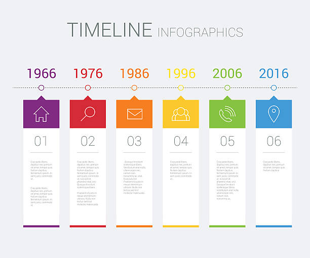 vektor-zeitleiste infografik - tischarrangements stock-grafiken, -clipart, -cartoons und -symbole