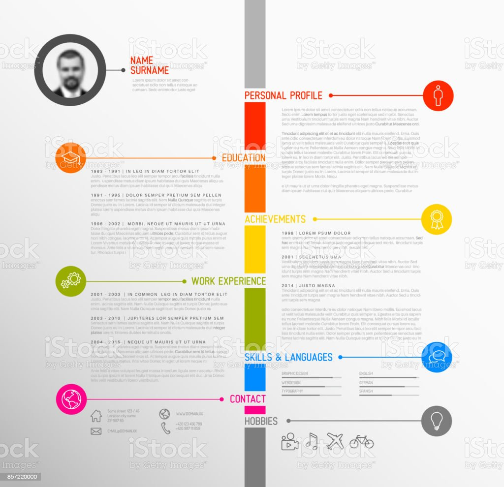 Vector Timeline Minimalist Cv Resume Template Stock Vector Art