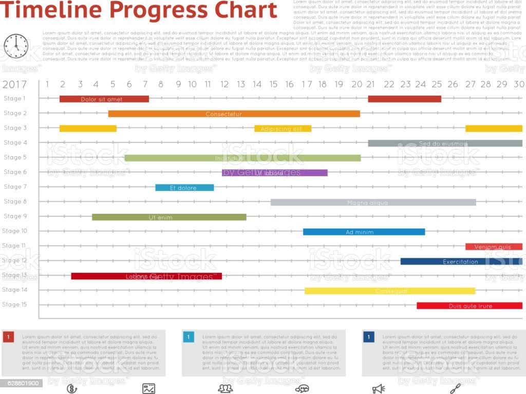 Vector Timeline Progress Graph Gantt Chart Of Project Stock Vector
