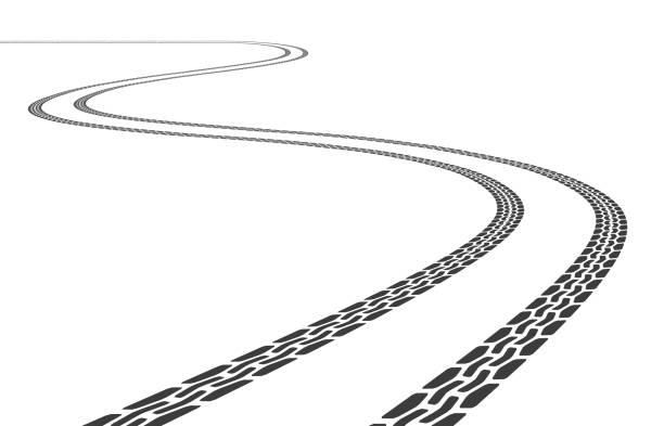 stockillustraties, clipart, cartoons en iconen met vector band tracks illustratie - bandenspoor