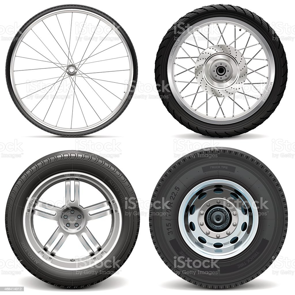 Vector Tires for Bicycle Motorcycle Car and Truck vector art illustration