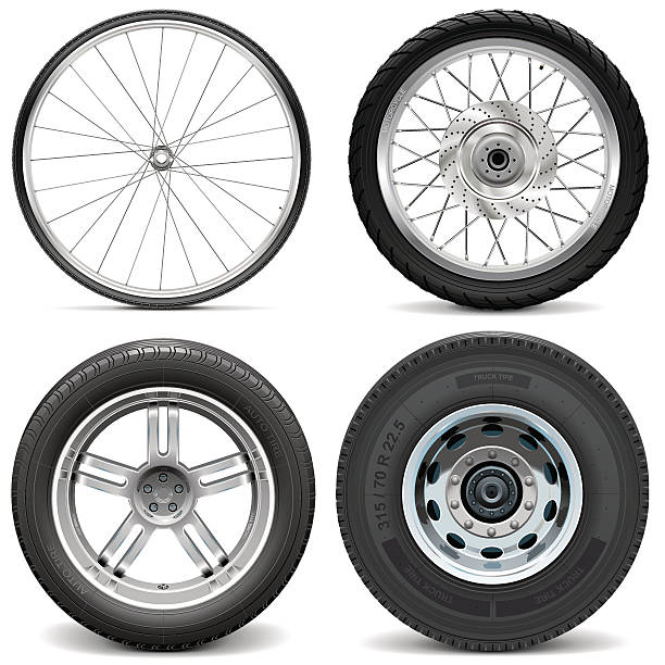 Vector Tires for Bicycle Motorcycle Car and Truck Vector Tires for Bicycle Motorcycle Car and Truck isolated on white background tires stock illustrations