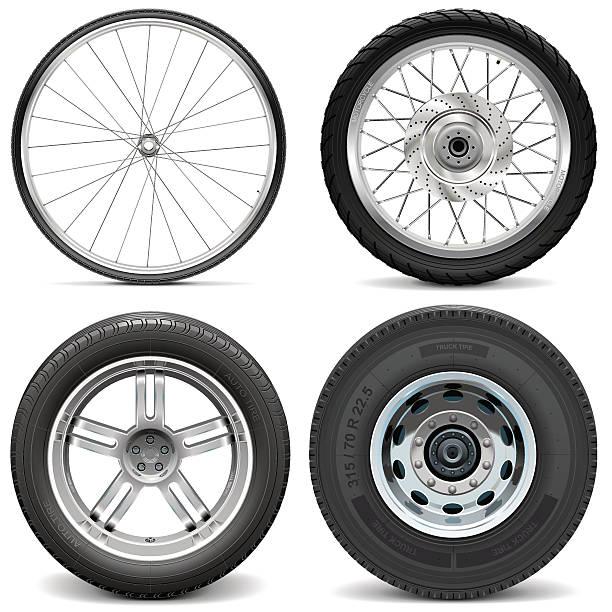 ilustraciones, imágenes clip art, dibujos animados e iconos de stock de vector tires para bicycle moto de coche y camión - tires