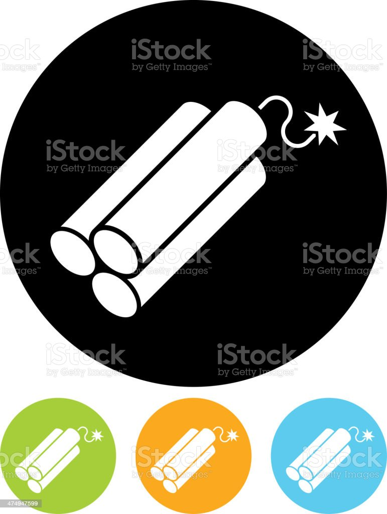Vector TNT dynamite bomb with burning fuse icon vector art illustration