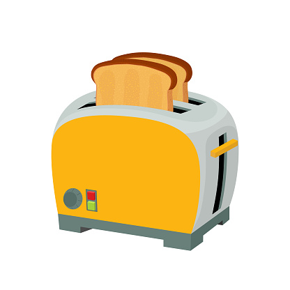 Vector toaster with fried bread, kitchen appliance