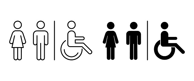 Vector toilet icons. Man, woman, handicap. Images line and black silhouette. Restroom, bathroom in a public area, navigation