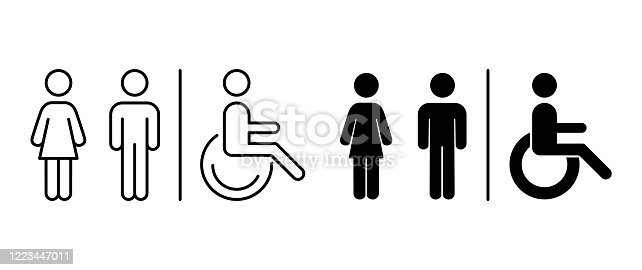 Vector toilet icons. Man, woman, handicap. Images line and black silhouette. Restroom, bathroom in a public area, navigation.