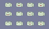 Set of vector kawaii toilet paper roll emoticons. Isolated on pale purple background.