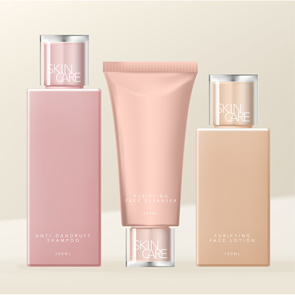 Vector Toiletries, Skin Care or Beauty Dual Layers Transparent Cap Bottle & Tube Packaging, Nude Colors.