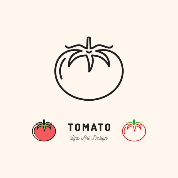 vector tomato icon vegetables . thin line art design - tomato stock illustrations