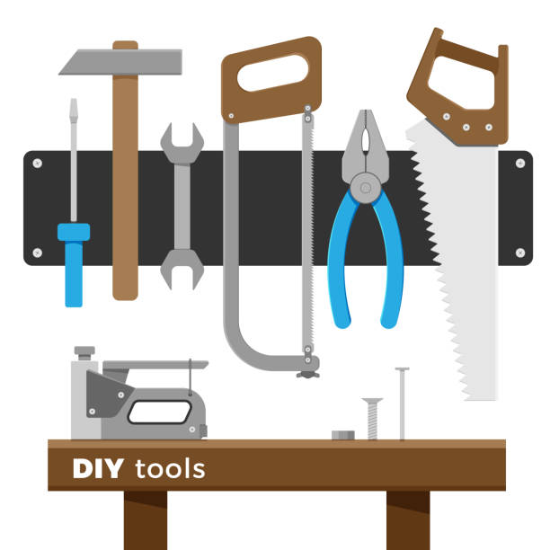 vektor-werkzeug-set - nagelspitze stock-grafiken, -clipart, -cartoons und -symbole