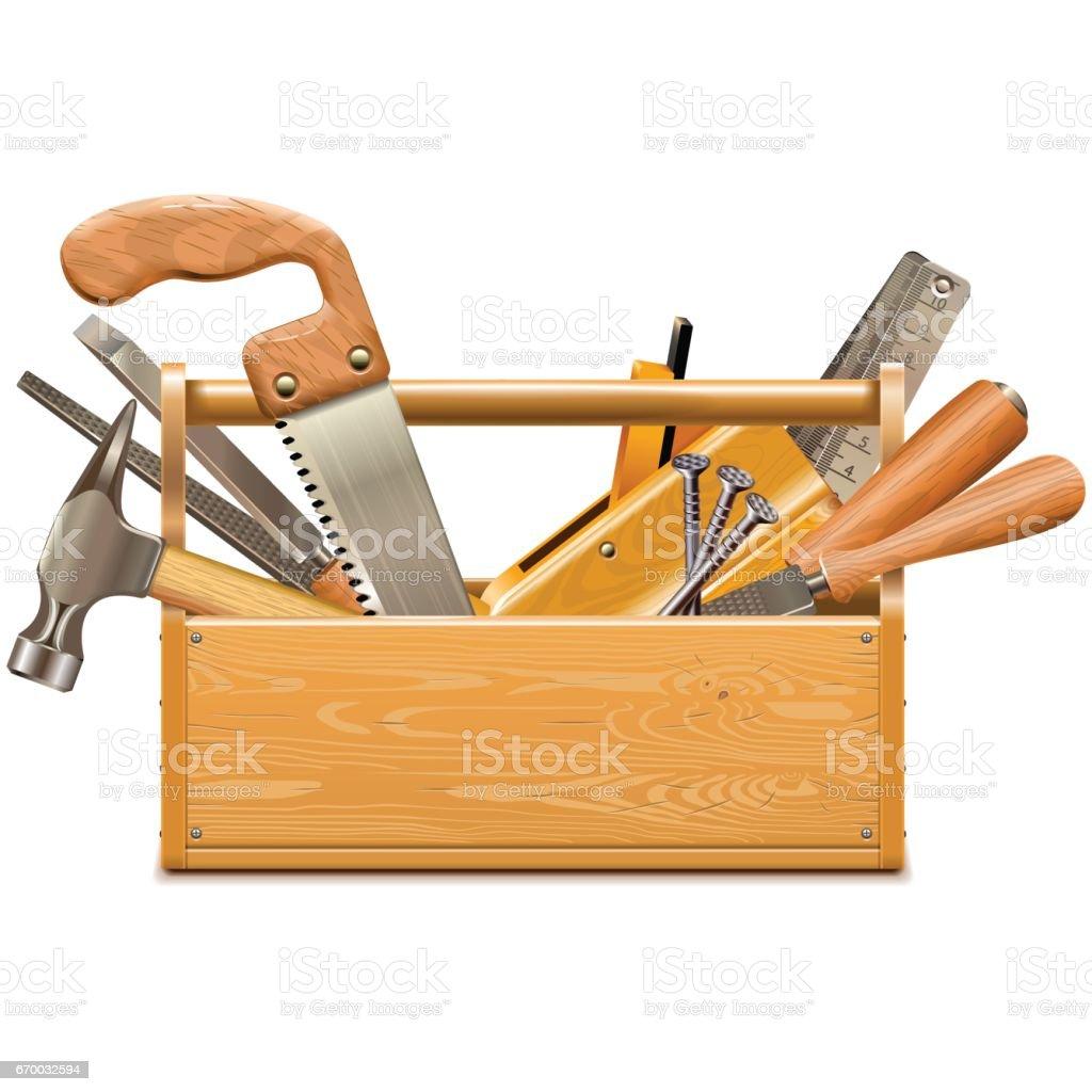 Caixa de ferramentas vetoriais com instrumentos retrô - ilustração de arte em vetor