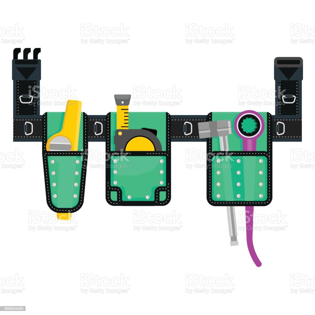 vector tools belt green vector art illustration
