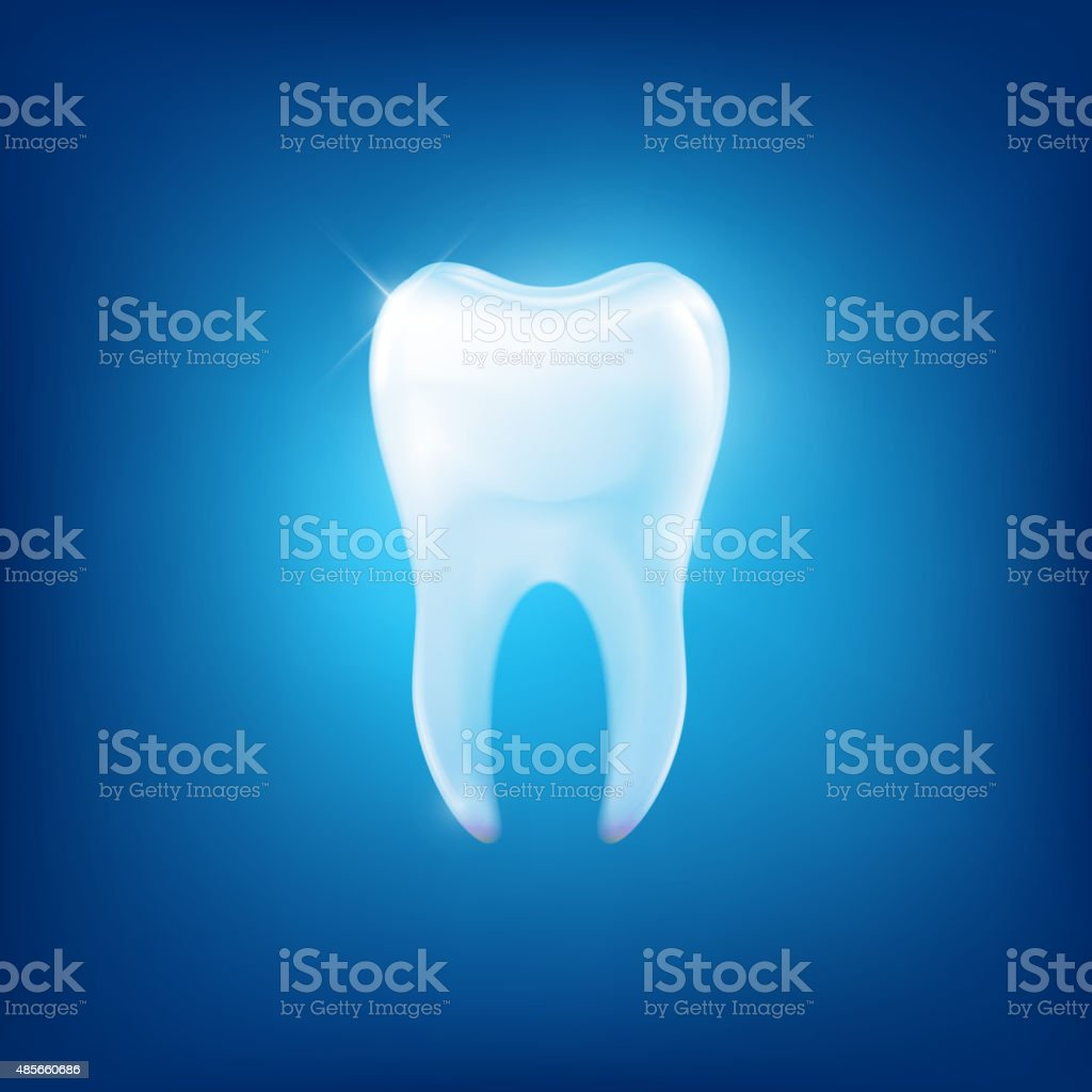 Vector tooth fang on blue background vector art illustration