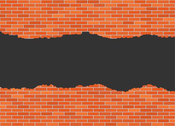 vektor in halbe ziegel wand hintergrund mit großen dunklen loch gerissen - halbwände stock-grafiken, -clipart, -cartoons und -symbole
