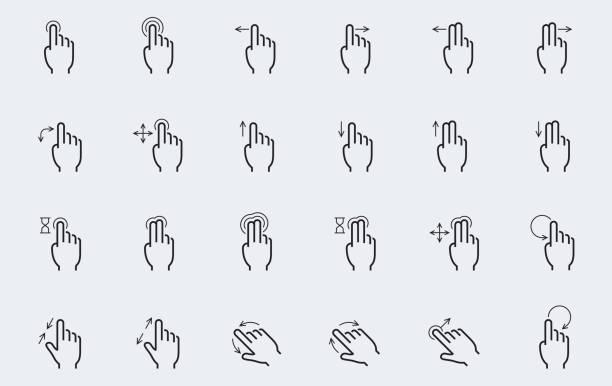 ilustrações, clipart, desenhos animados e ícones de ícones de gestos de tela de toque de vetor em estilo de linha fina - deslize