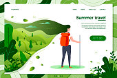 Vector illustration - tourist girl with backpack on summer travel, forests, trees and hills on green background. Banner, site, poster template with place for your text.
