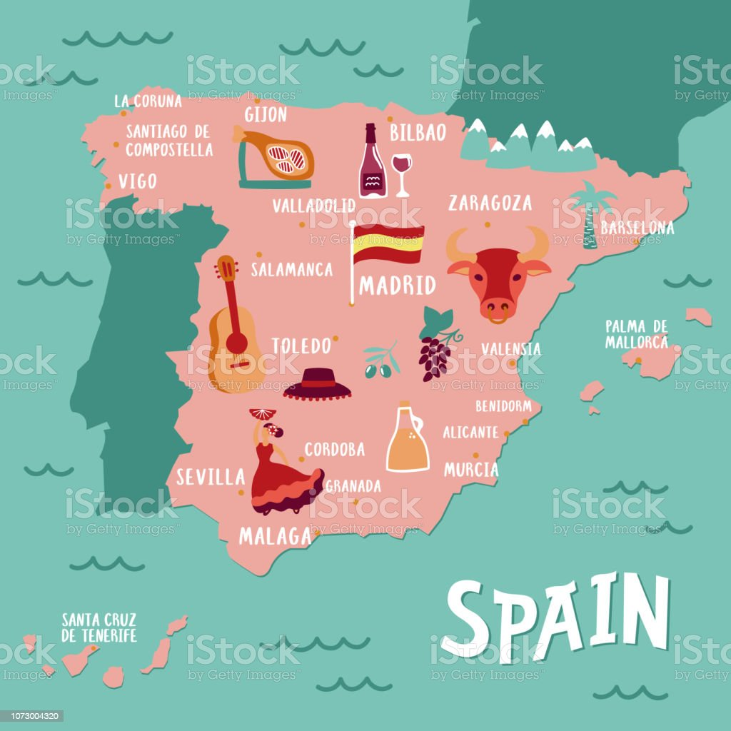 Spanish Map Of Spain.Vector Tourist Map Of Spain Travel Illustration With Spanish