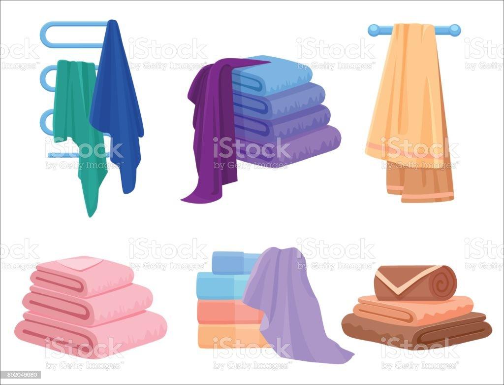 Vector Towels set. Cloth towel for bath. Cartoon Vector illustration. vector art illustration