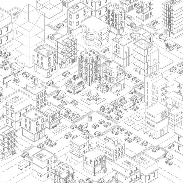 ベクトルタウンシティストリート交差点の概要.漫画の建物とロードトップビュー。灰色の線の輪郭スタイルの背景。非常に詳細。 - 町点のイラスト素材/クリップアート素材/マンガ素材/アイコン素材