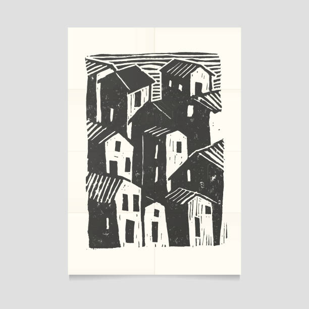 Vector town illustration on folded paper. This vector art illustration is created by tracing original hand carved and printed from blockprint art. It is ready to print and use. linocut stock illustrations