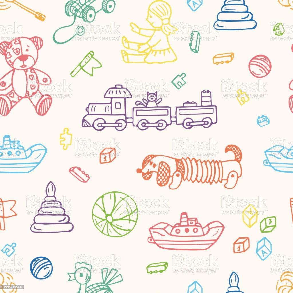 Vector Toys Doodle Seamless Pattern Kids Background Endless Wallpaper Illustration Royalty