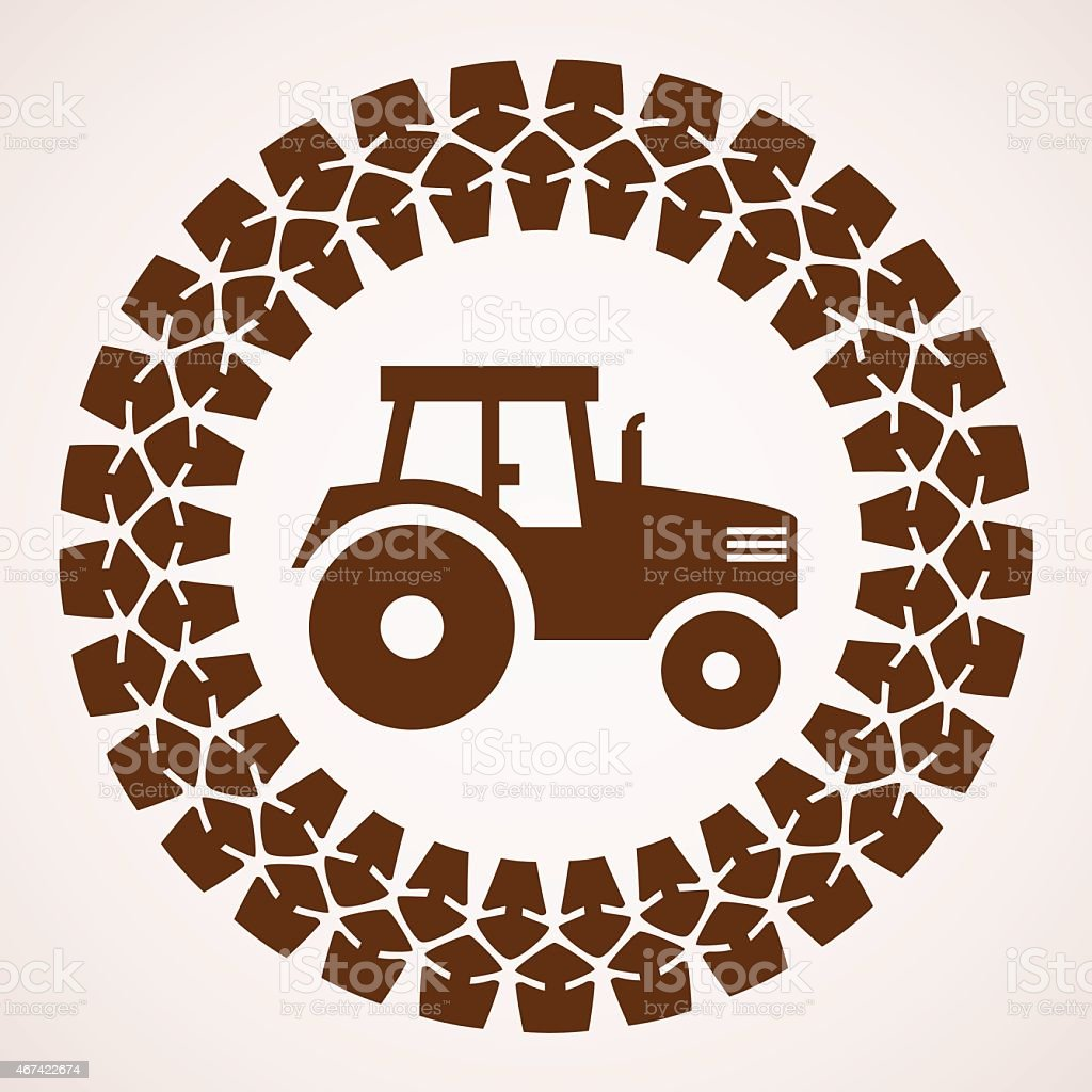 vector  tractor tire print with symbol of tractor vector art illustration