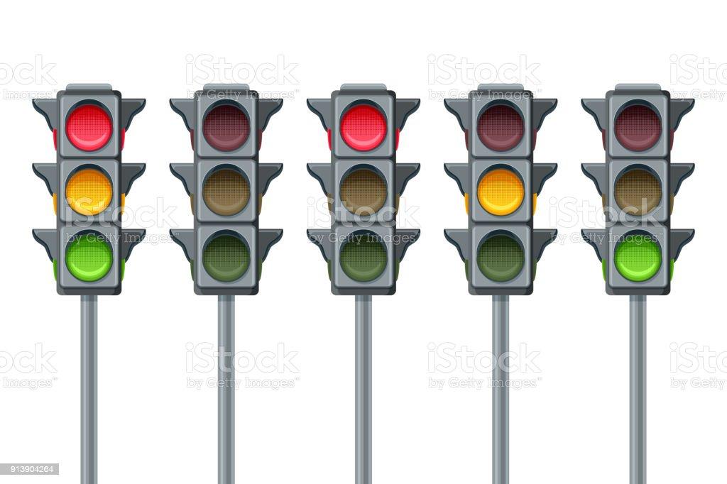 Semáforo de vectores aislado sobre fondo blanco. Ir, esperar y dejar de símbolos. Luces rojizas, amarillas y verdes, los iconos conjunto. - ilustración de arte vectorial