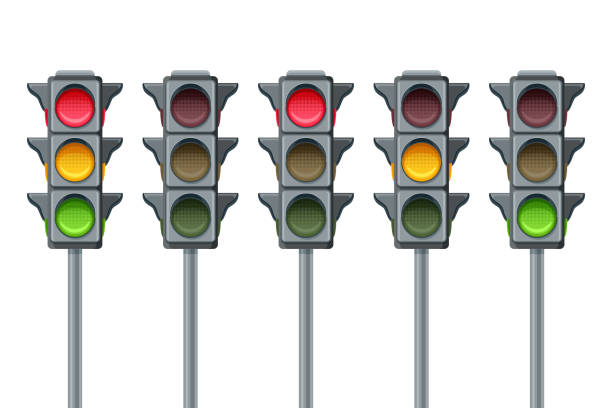 vector traffic lights isolated on white background. go, wait and stop symbols. red, yellow and green lights, icons set. - stoplights stock illustrations, clip art, cartoons, & icons
