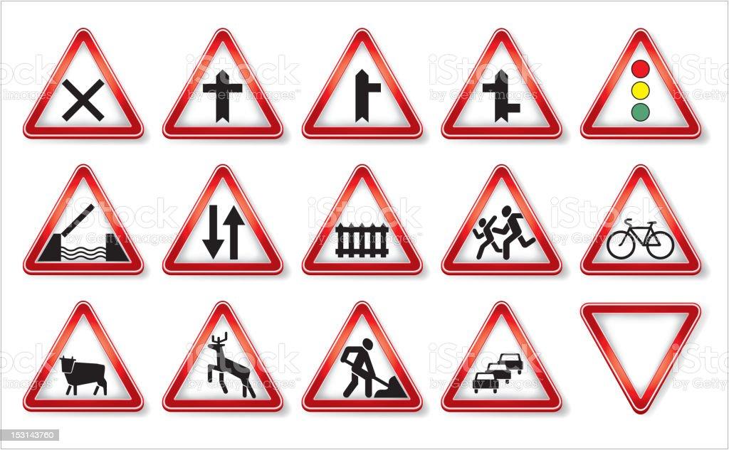 Colección vector de señales de tráfico - ilustración de arte vectorial