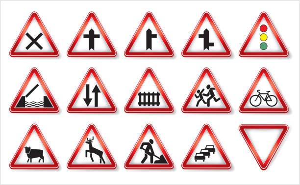 ilustraciones, imágenes clip art, dibujos animados e iconos de stock de colección vector de señales de tráfico - señalización vial