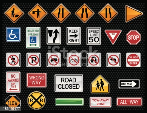 An assortment of traffic warning signs created to look like buttons.