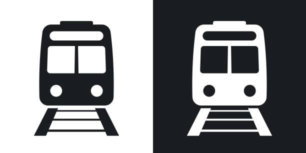 ベクトルの鉄道アイコン。ツートン カラー バージョン - 電車点のイラスト素材/クリップアート素材/マンガ素材/アイコン素材