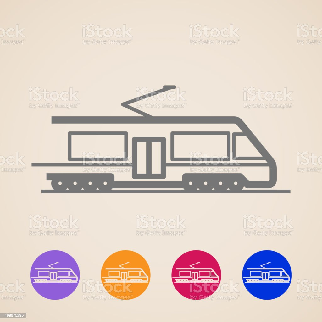 vector train icons vector art illustration