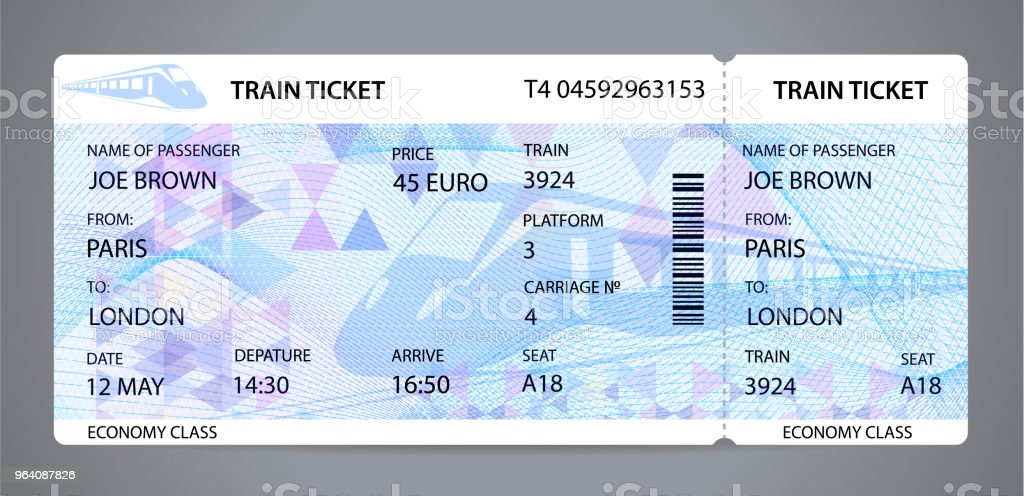 Vector Train ticket, traveler check (template / layout) with train silhouette on background - Royalty-free Abstract stock vector