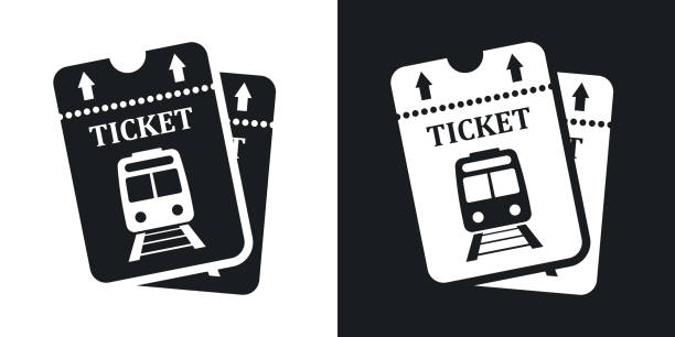 Vector train tickets icon. Two-tone version Vector train tickets icon. Two-tone version on black and white background train ticket stock illustrations