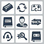 Vector translation and dictionary icons set