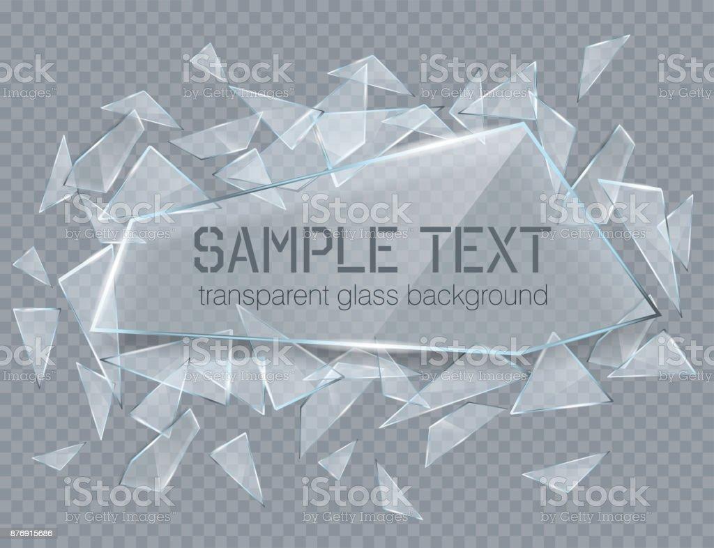 Vektor transparent zerbrochenes Glas mit scharfen Steinen. Abstrakte Glas Oberfläche Hintergrund – Vektorgrafik
